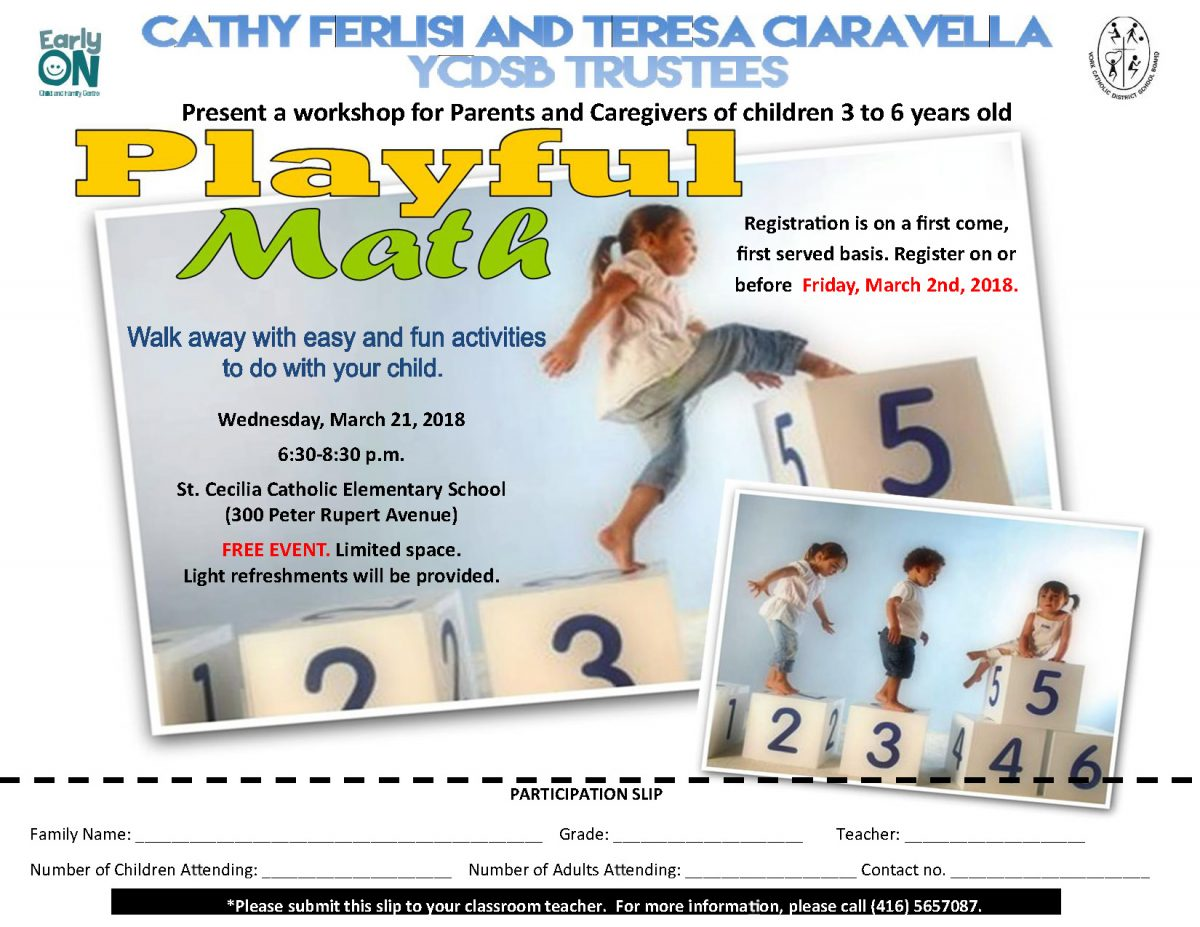 Playful Math: a workshop for Parents and Caregivers of children 3 to 6 years old