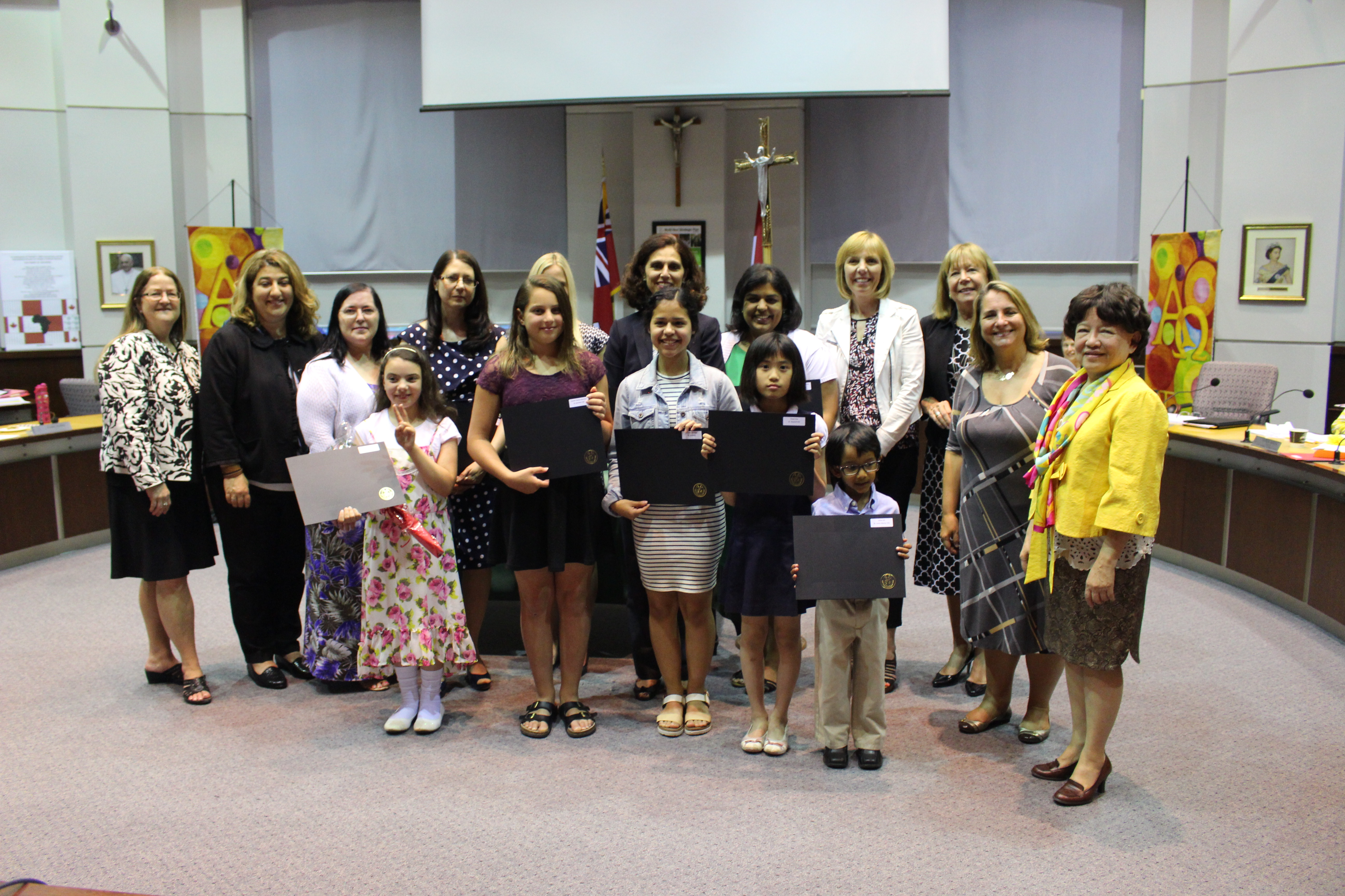 Elementary Winners pose with senior Board staff