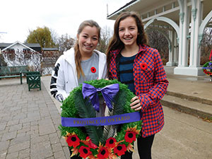 St. John XXIII students lay wreaths in honour of our veterans