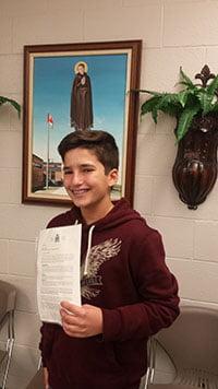 St. Charles Garnier student serving as a Legislative Page