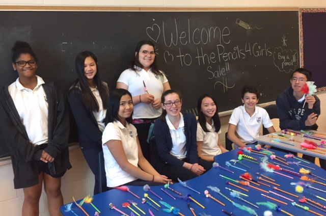 "St. John Paul II students lead charitable initiative, ""Pencils 4 Girls"""