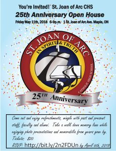 St. Joan of Arc 25th Anniversary Open House @ St. Joan of Arc CHS | Vaughan | Ontario | Canada