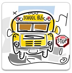 school bus next to a stop sign
