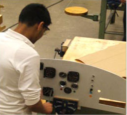 student working in workshop