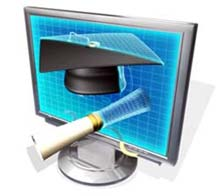 computer monitor with graduation cap and diploma on it