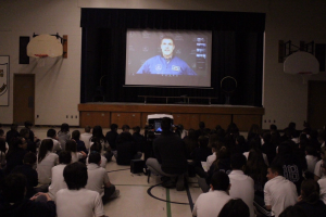 Canadian Astronaut Jeremy Hansen speaks to St. Gregory the Great students