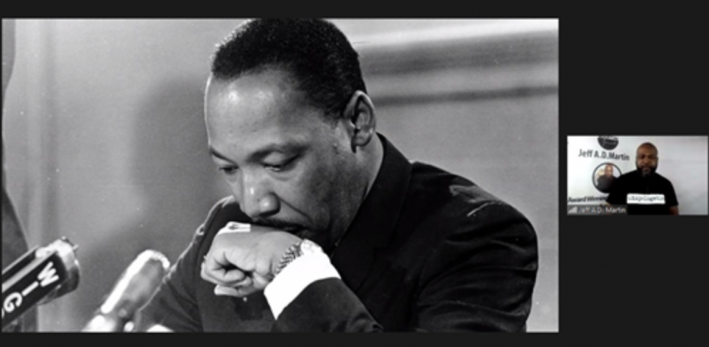 screenshot from the presentation showing Martin Luther King