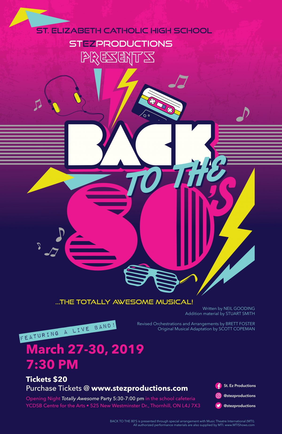 St.Ez Productions presents Back to the 80's…the Totally Awesome Musical!