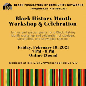 The Black Foundation of Community Networks is hosting a special #BlackHistoryMonth workshop on Friday, February 19th