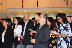 Father Michael McGivney welcomes 54 new Canadian citizens from 18 countries at citizenship ceremony