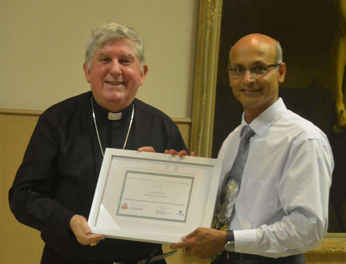 FMM teacher receives prestigious award from Cardinal Collins