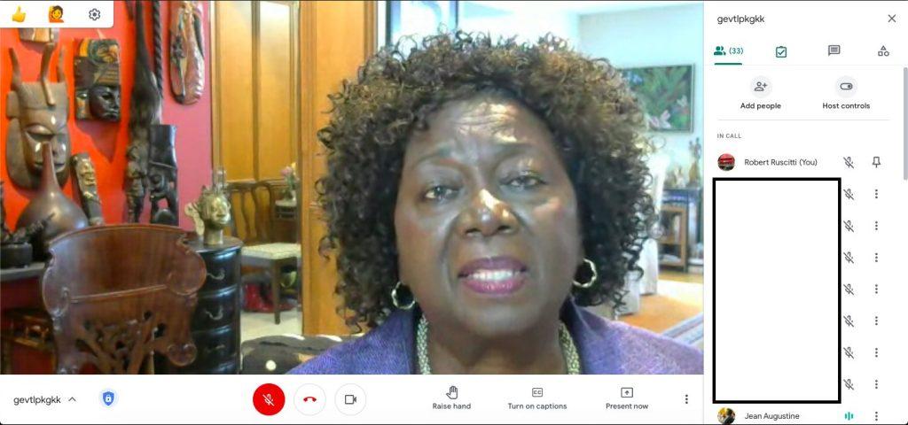 screenshot of the Google Meet showing Jean Augustine speaking